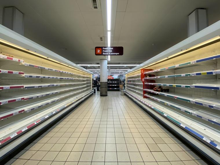 Empty supermarket shelves during covid-19